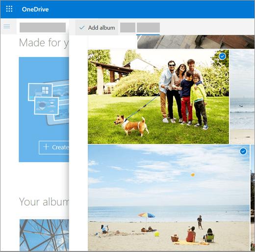 Posnetek zaslona, na katerem je prikazan postopek ustvarjanja albuma v storitvi OneDrive