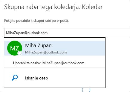 Posnetek zaslona s pogovornim oknom »Daj koledar v skupno rabo« v storitvi Outlook.com.