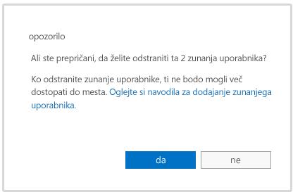 Sporočilo z opozorilom, ko želite izbrisati račun zunanjega uporabnika
