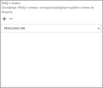 Posnetek zaslona: izberite znak plus, da dodate uporabnike, ki jim želite omogočiti pošiljanje kot skupina v storitvi Office 365.