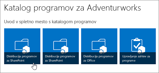 Ploščice z uvodom v katalog aplikacij z označeno možnostjo distribucije aplikacij za SharePoint.