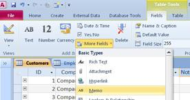 locate the Memo field data type under more fields