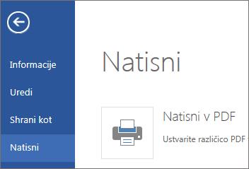Ukaz »Natisni« v programu Word Web App
