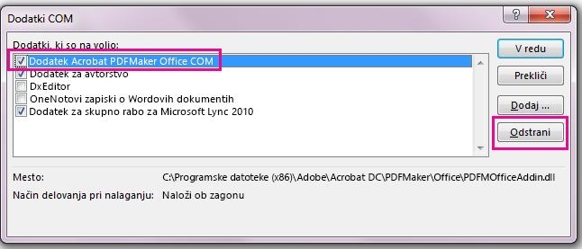 Potrdite polje za »Acrobat PDFMaker Office COM Addin« in kliknite »Odstrani«.