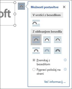 Kliknite možnosti postavitve, če želite izbrati način postavitve besedila okoli vstavljene slike.