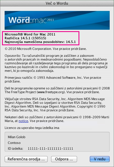 Word for Mac 2011 prikazuje stran »Word – vizitka«