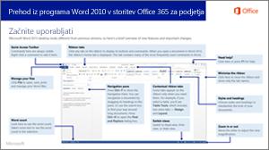 Sličica vodnika za preklop iz programa Word 2010 v storitev Office 365