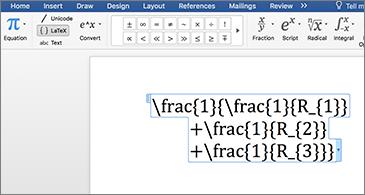 Wordov dokument, ki vsebuje enačbo LaTex