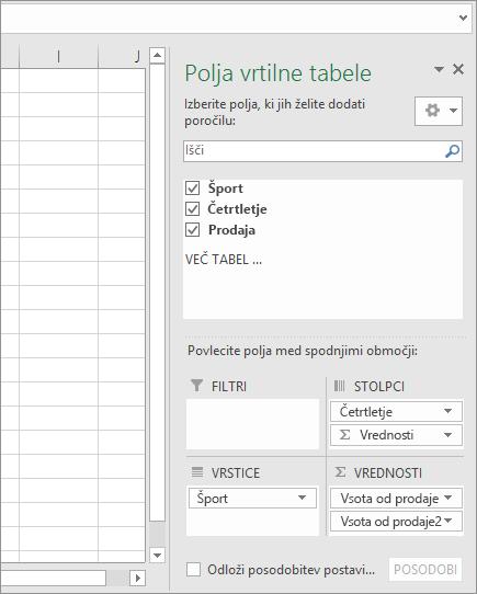 Polja vrtilne tabele