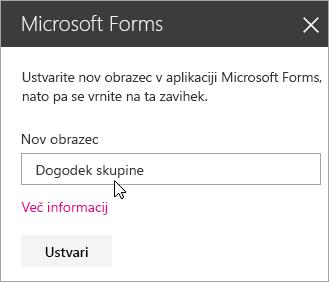 Plošča spletnega gradnika Microsoft Forms za nov obrazec.