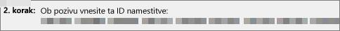Prikazuje ID namestitve, ki ga prek telefona prejmete od središča za aktivacijo izdelka