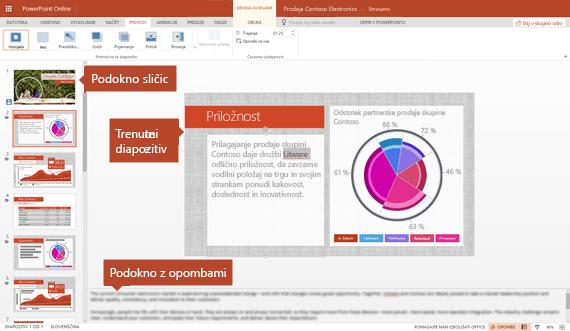 Pogled urejanja v programu PowerPoint online