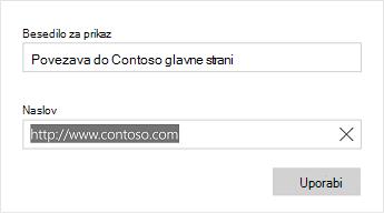 Besedilo pogovornega okna» Word Mobile link «
