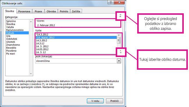 Izberite vrsto datuma in si nato oglejte predogled v polju »Vzorec«