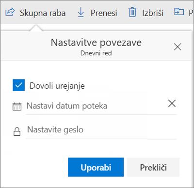 Možnosti nastavitev povezave za skupno rabo datoteke v storitvi OneDrive