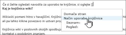 Vstavljanje povezave v wiki