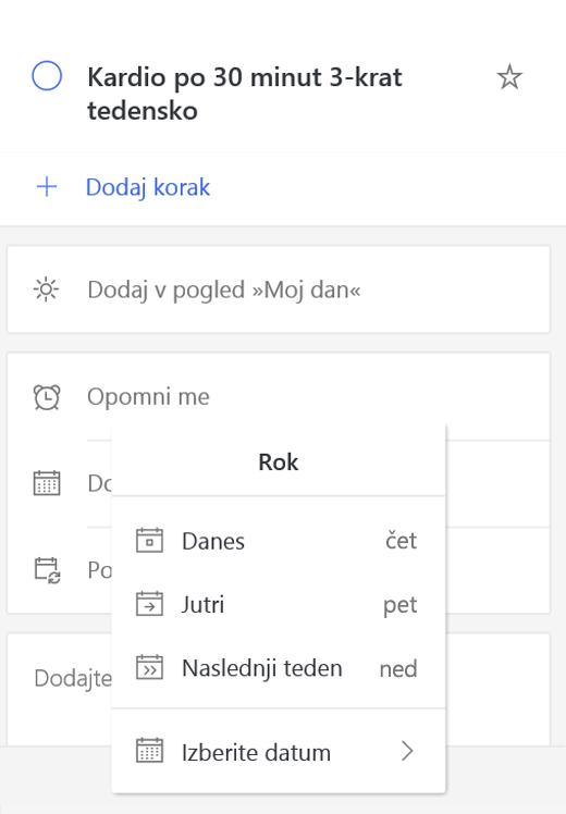 Posnetek zaslona, ki prikazuje podrobnosti ogled z Add a rok datum izbrana.