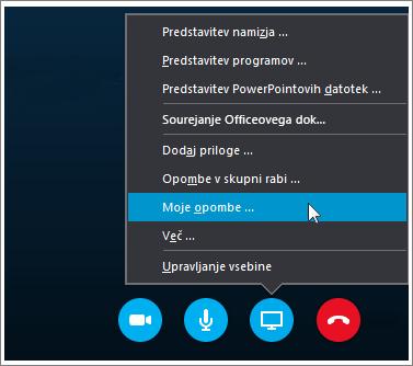 Posnetek zaslona skupne rabe beležk programa OneNote 2016 v Skypu za podjetja.