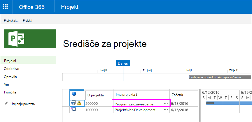 V središču za projekte izberite ime projekta.
