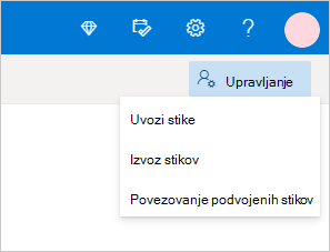 Manage contacts menu in Outlook.com