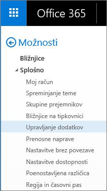 Posnetek zaslona razdelka »Splošno« v meniju »Možnosti« v Outlooku z označeno možnostjo »Upravljanje dodatkov«.