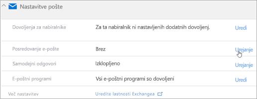 Posnetek zaslona: Izberite »Uredi«, da konfigurirate posredovanja e-pošte