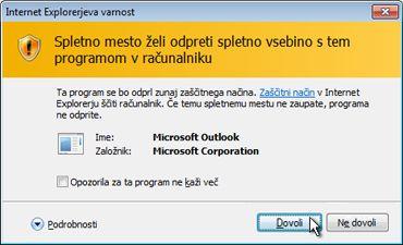 Pogovorno okno »Varnost v programu Internet Explorer«