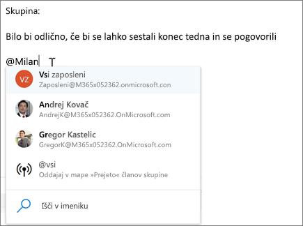 @mentions v Outlooku v spletu