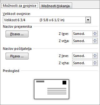 Zavihek »Možnosti za ovojnice« za nastavitev velikosti ovojnice in pisav za naslov