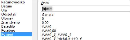 Pogovorno okno» oblikovanje celic «, ukaz po meri, [h]: mm Type
