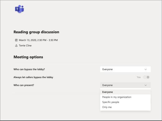 Izberite, kdo je lahko prisoten v možnostih srečanja v aplikaciji Teams