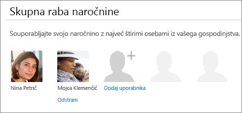 Posnetek zaslona odseka »Skupno rabo prednosti naročnine« strani skupna raba storitve Office 365, ki prikazuje povezavo »Odstrani« pod sliko uporabnika.