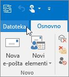 Na posnetku zaslona je prikazan meni »Datoteka« programa Outlook 2016