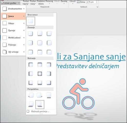 Z orodjem za grafične učinke v slike SVG dodajte učinke, kot so padajoče sence
