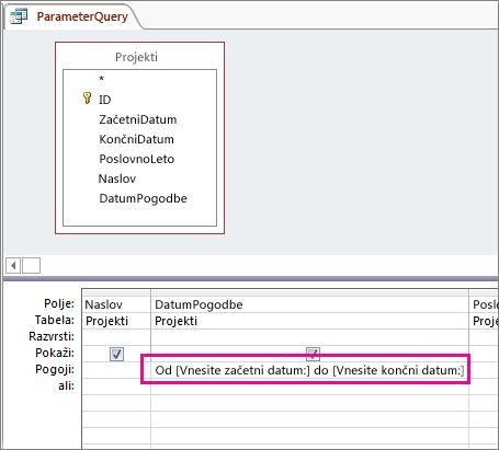 Poizvedba s parametri, ki vsebuje dva parametra.