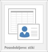 Ikona za možnosti predlogo zbirke podatkov
