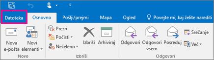 Videz traku v programu Outlook 2016