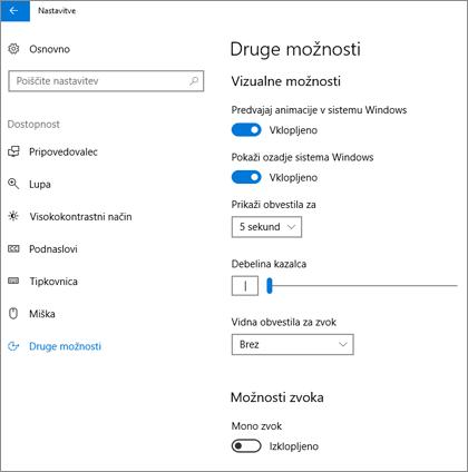 Podokno »Druge možnosti« v Središču za dostopnost v nastavitvah sistema Windows 10