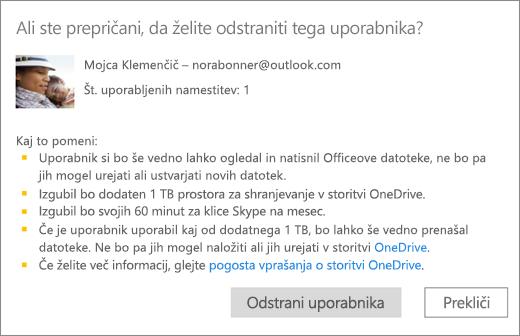 Posnetek zaslona potrditvenega pogovornega okna pri odstranitvi uporabnika iz naročnine na Office 365 Home.