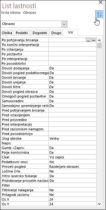 Posnetek zaslona Accessovega lista z lastnostmi, razvrščenimi po abecednem vrstnem redu
