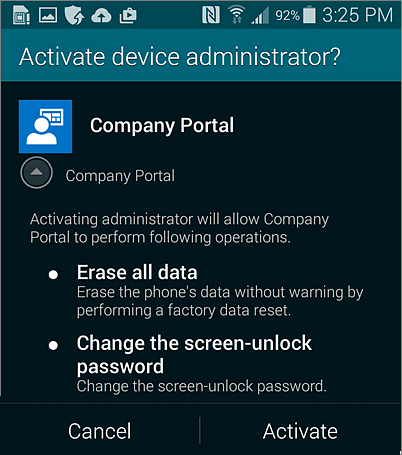 Activate device administrator for Android