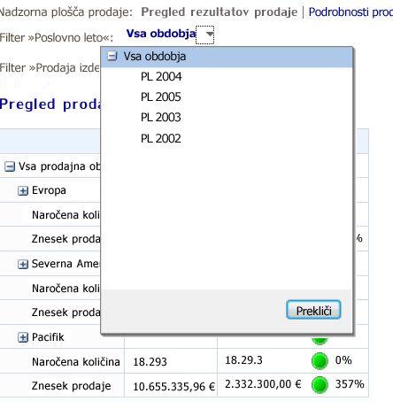 Filter s prikazanim kontrolnikom seznama