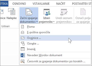 Meni »Začni spajanje dokumentov«