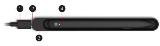 Slika tankega peresa za Surface, ki se polni v enoti za polnjenje USB-C