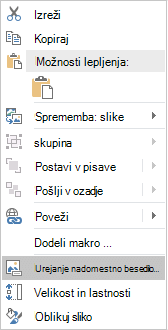 Meni Excel Win32 urejanje nadomestno besedilo za slike