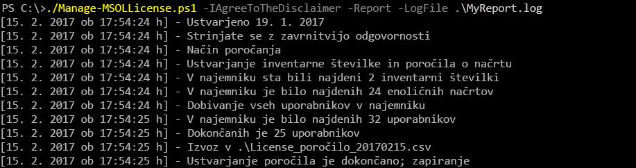 Rezultat izvajanja skripta Manage-MSOLLicense.