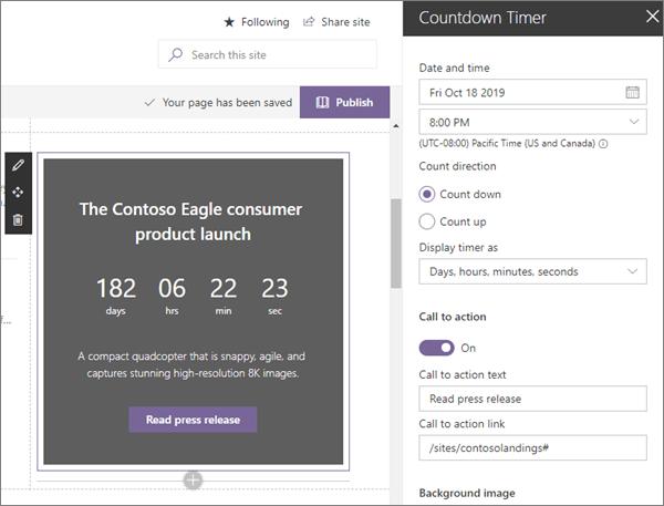 Spletni gradnik odštevalnika v vzorčnem sodobnem mestu pristanka podjetja v SharePoint Onlineu