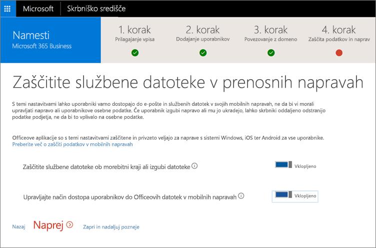 Posnetek zaslona strani zaščite službenih datotek v prenosnih napravah