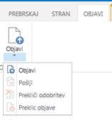Posnetek zaslona zavihka za objavljanje, ki vsebuje gumbe za objavljanje, umik objave in pošiljanje strani za objavljanje v potrditev