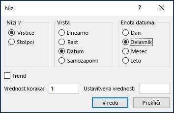Excel polnilo > možnosti nizov